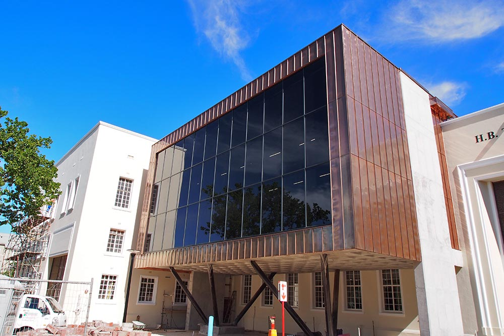 Copper application at HB Thom Theatre Stellenbosch University
